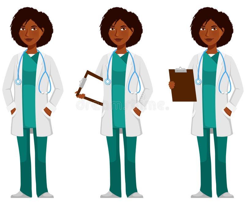 Νέα γιατρός ή νοσοκόμα αφροαμερικάνων διανυσματική απεικόνιση