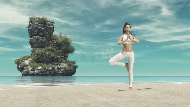 Νέα γιόγκα άσκησης σκιαγραφιών γυναικών στοκ εικόνες