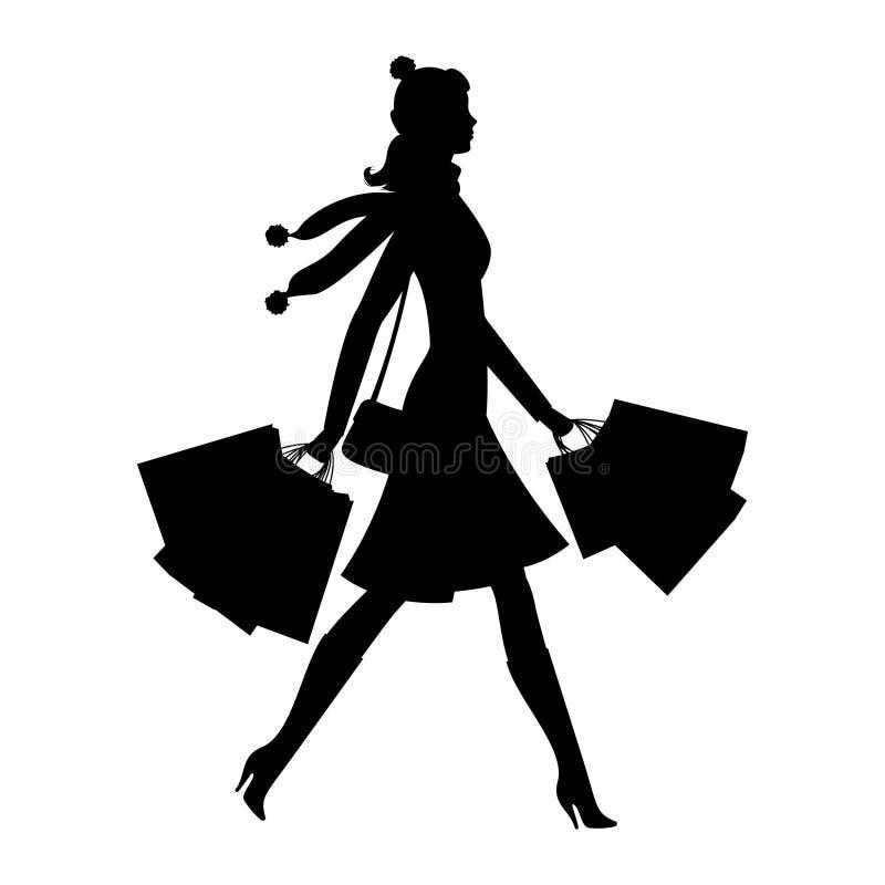 Νέα γυναίκα αγοραστών Σκιαγραφία του κοριτσιού με τις τσάντες αγορών Πώληση απεικόνιση αποθεμάτων