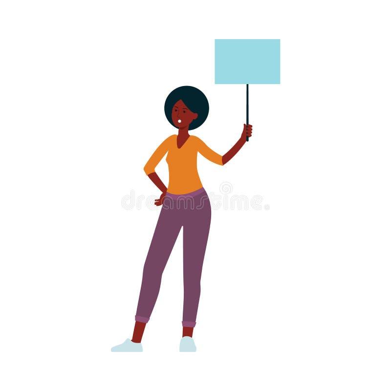 Νέα γυναίκα αφροαμερικάνων με το σημάδι εμβλημάτων διαμαρτυρίας απεικόνιση αποθεμάτων