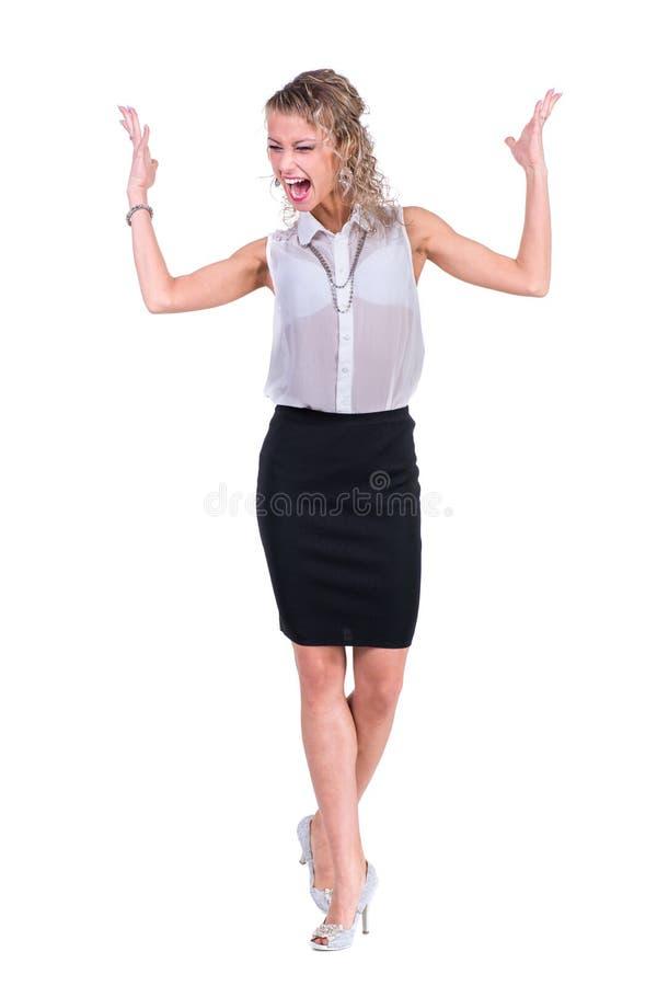 Νέα γυναίκα θυμού Καυκάσια επιχειρηματίας στοκ εικόνα