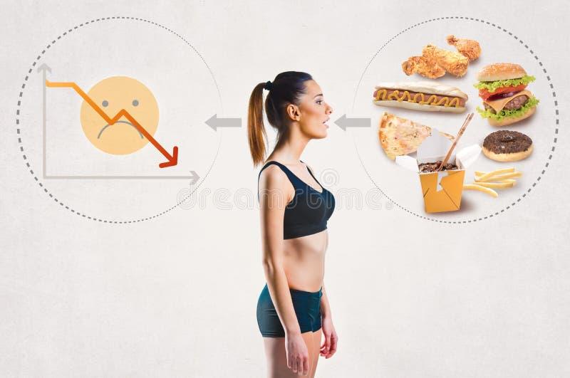 Νέα γυναίκα και μια ανθυγειινή έννοια διατροφής στοκ εικόνα