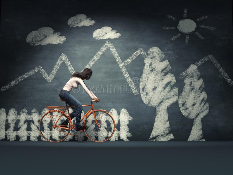 Νέα γυναίκα με ένα ποδήλατο διανυσματική απεικόνιση