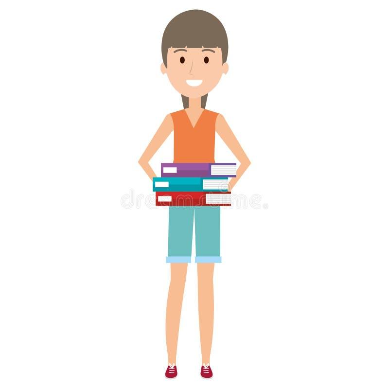 Νέα γυναίκα με τα βιβλία σωρών απεικόνιση αποθεμάτων