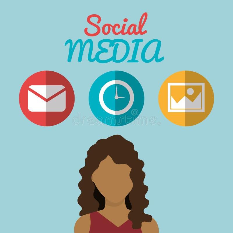 Νέα γυναίκα με τα κοινωνικά μέσα που εμπορεύεται τα εικονίδια διανυσματική απεικόνιση