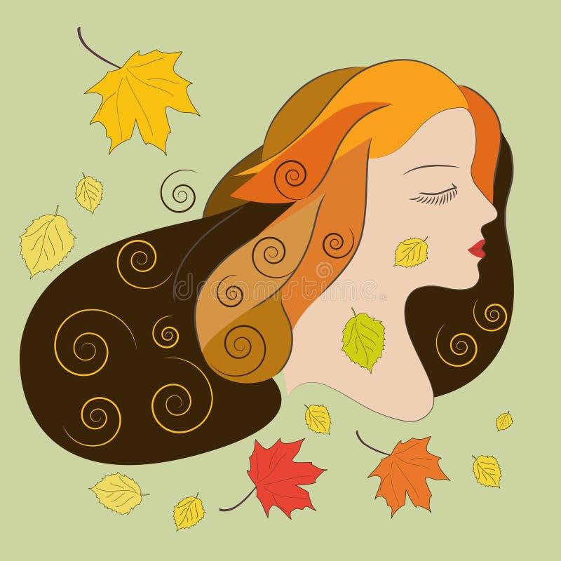 Νέα γυναίκα με τα φύλλα φθινοπώρου, επίπεδη διανυσματική απεικόνιση απεικόνιση αποθεμάτων