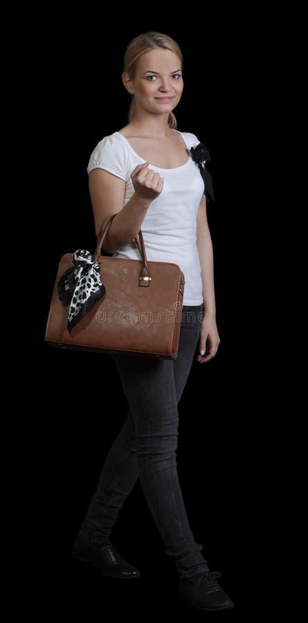 Νέα γυναίκα με την τσάντα στοκ εικόνες με δικαίωμα ελεύθερης χρήσης