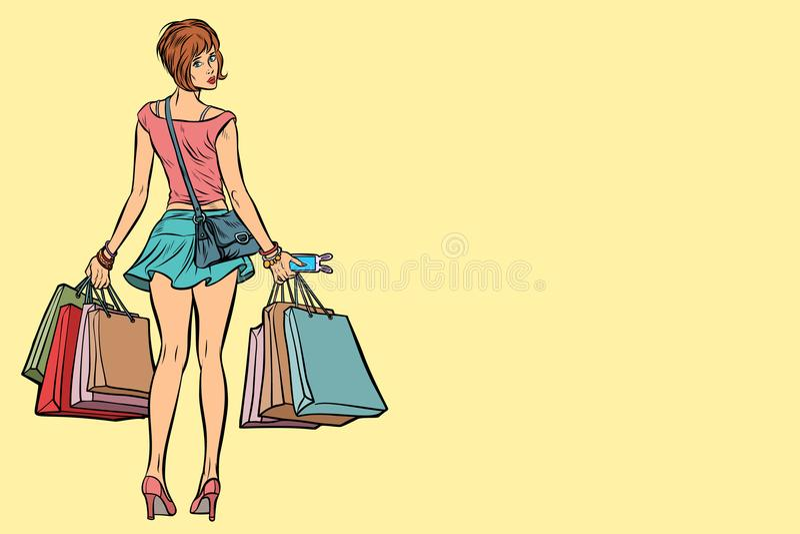 Νέα γυναίκα με τις τσάντες αγορών στην πώληση απεικόνιση αποθεμάτων
