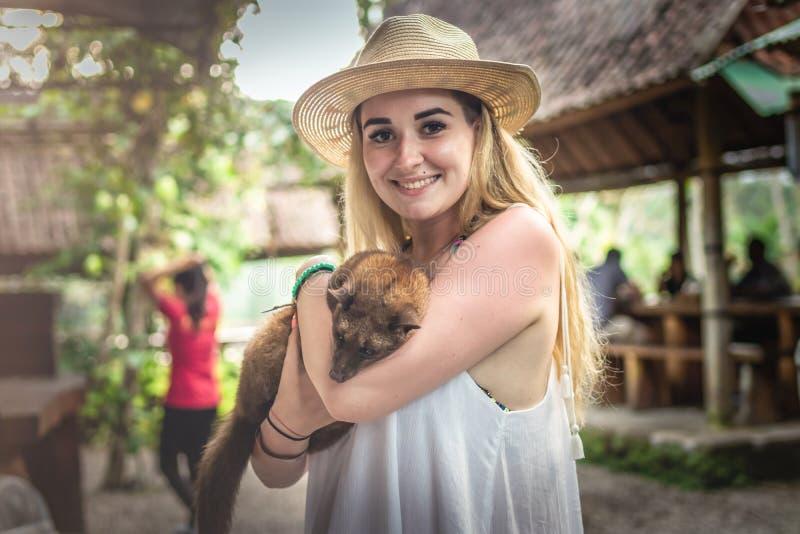 Νέα γυναίκα με τον παραγωγό kopi καφέ musang luwak Νησί του Μπαλί στοκ φωτογραφίες