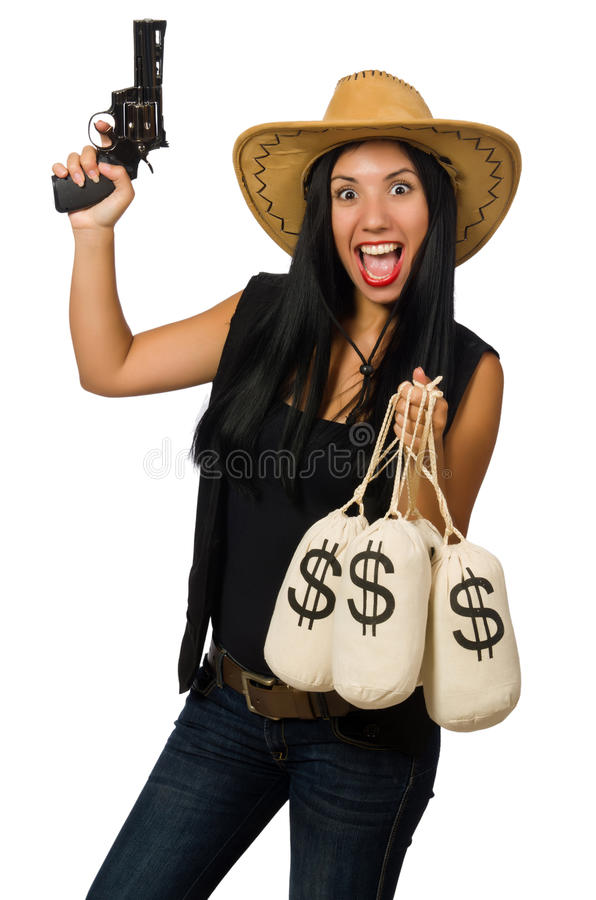 Download Νέα γυναίκα με τους σάκους πυροβόλων όπλων και χρημάτων Στοκ Εικόνα - εικόνα από μετρητά, τζιν: 62708861