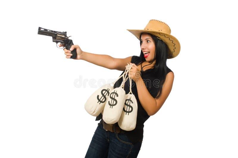 Download Νέα γυναίκα με τους σάκους πυροβόλων όπλων και χρημάτων Στοκ Εικόνα - εικόνα από στοχεύοντας, περίστροφο: 62708965