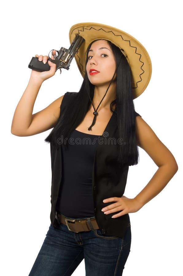 Download Νέα γυναίκα με το πυροβόλο όπλο που απομονώνεται στο λευκό Στοκ Εικόνα - εικόνα από θηλυκός, χαριτωμένος: 62708899