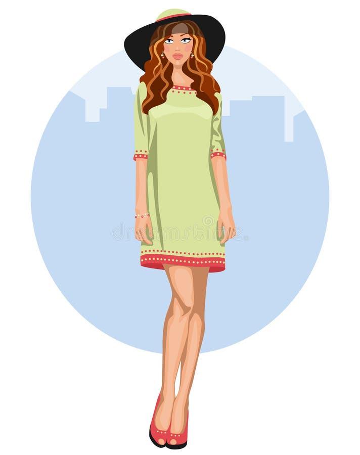 Νέα γυναίκα με το φόρεμα και το καπέλο ελεύθερη απεικόνιση δικαιώματος