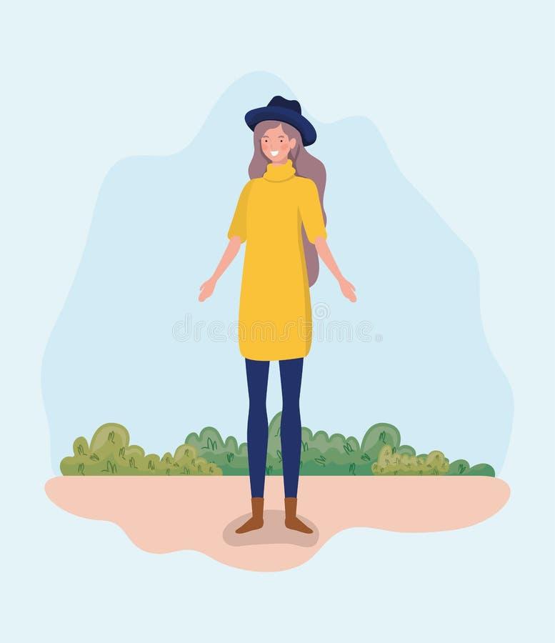 Νέα γυναίκα με το tophat που στέκεται στο στρατόπεδο απεικόνιση αποθεμάτων