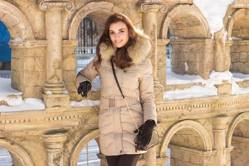 Νέα γυναίκα ομορφιάς στο χειμερινό πάρκο στοκ εικόνες