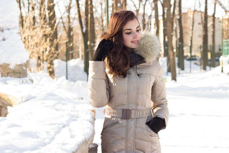 Νέα γυναίκα ομορφιάς στο χειμερινό πάρκο στοκ φωτογραφίες με δικαίωμα ελεύθερης χρήσης