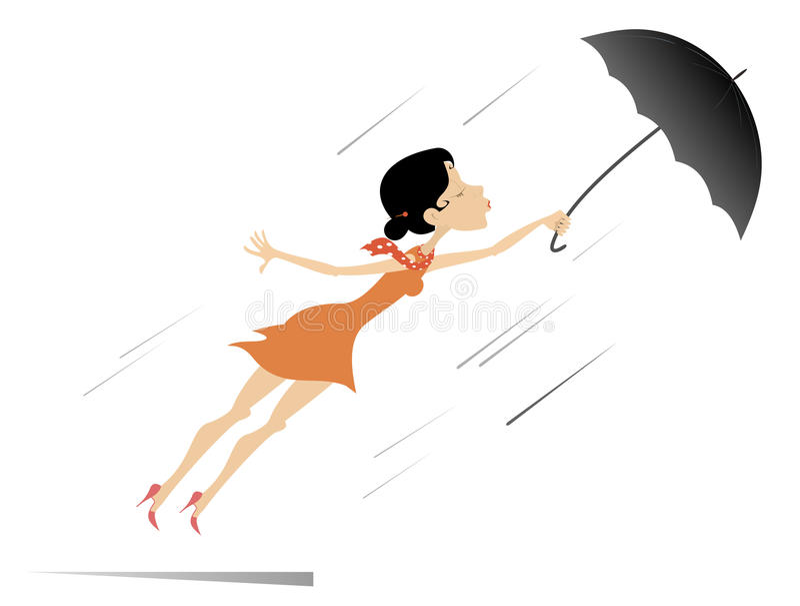 Νέα γυναίκα, ομπρέλα και θυελλώδης ημέρα που απομονώνονται ελεύθερη απεικόνιση δικαιώματος