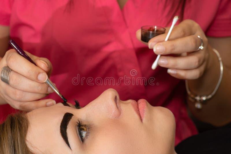Νέα γυναίκα που έχει την επαγγελματική διαδικασία διορθώσεων φρυδιών στο σαλόνι ομορφιάς στοκ εικόνα με δικαίωμα ελεύθερης χρήσης