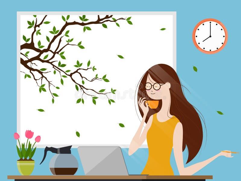 Νέα γυναίκα που απολαμβάνει τον καφέ πρωινού και που εργάζεται στο φορητό προσωπικό υπολογιστή, διανυσματική απεικόνιση διανυσματική απεικόνιση