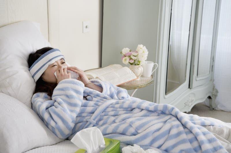 Νέα γυναίκα που βρίσκεται στο κρεβάτι με το κοινό κρύο στοκ φωτογραφία με δικαίωμα ελεύθερης χρήσης
