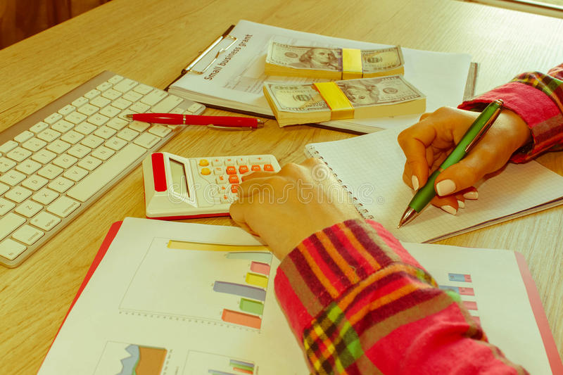 Νέα γυναίκα που εργάζεται στο σπίτι, καθμένος στο γραφείο, που χρησιμοποιεί τον υπολογιστή Επιχειρησιακή επιχορήγηση και έννοια π στοκ εικόνες με δικαίωμα ελεύθερης χρήσης