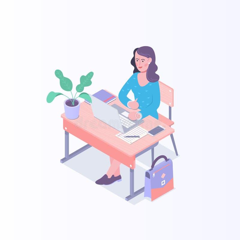 Νέα γυναίκα που εργάζεται στο lap-top στο γραφείο Διανυσματική isometric απεικόνιση απεικόνιση αποθεμάτων