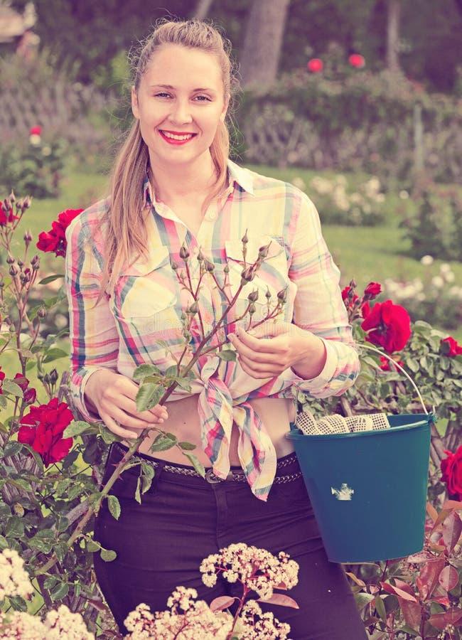 Νέα γυναίκα που κρατά ένα καλάθι και που στέκεται στο πάρκο των τριαντάφυλλων στοκ φωτογραφία με δικαίωμα ελεύθερης χρήσης