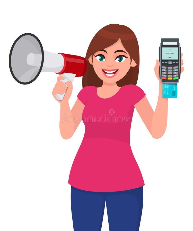 Νέα γυναίκα που κρατά megaphone ή ένα μεγάφωνο Κορίτσι που παρουσιάζει POS τερματικό, χρέωση, πίστωση, swiping μηχανή καρτών του  ελεύθερη απεικόνιση δικαιώματος