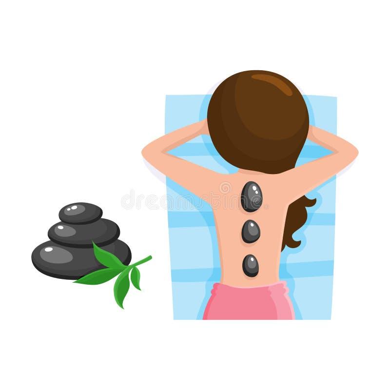 Νέα γυναίκα που παίρνει το καυτό μασάζ πετρών στο σαλόνι SPA διανυσματική απεικόνιση