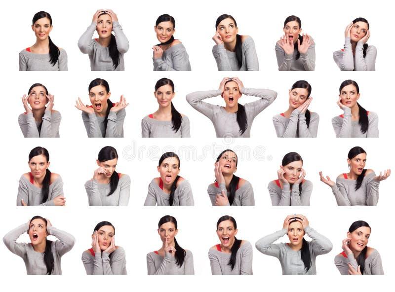 Νέα γυναίκα που παρουσιάζει διάφορες εκφράσεις, που απομονώνονται στοκ εικόνες με δικαίωμα ελεύθερης χρήσης