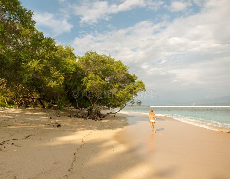 Νέα γυναίκα που περπατά κατά μήκος της τροπικής παραλίας στοκ φωτογραφίες με δικαίωμα ελεύθερης χρήσης