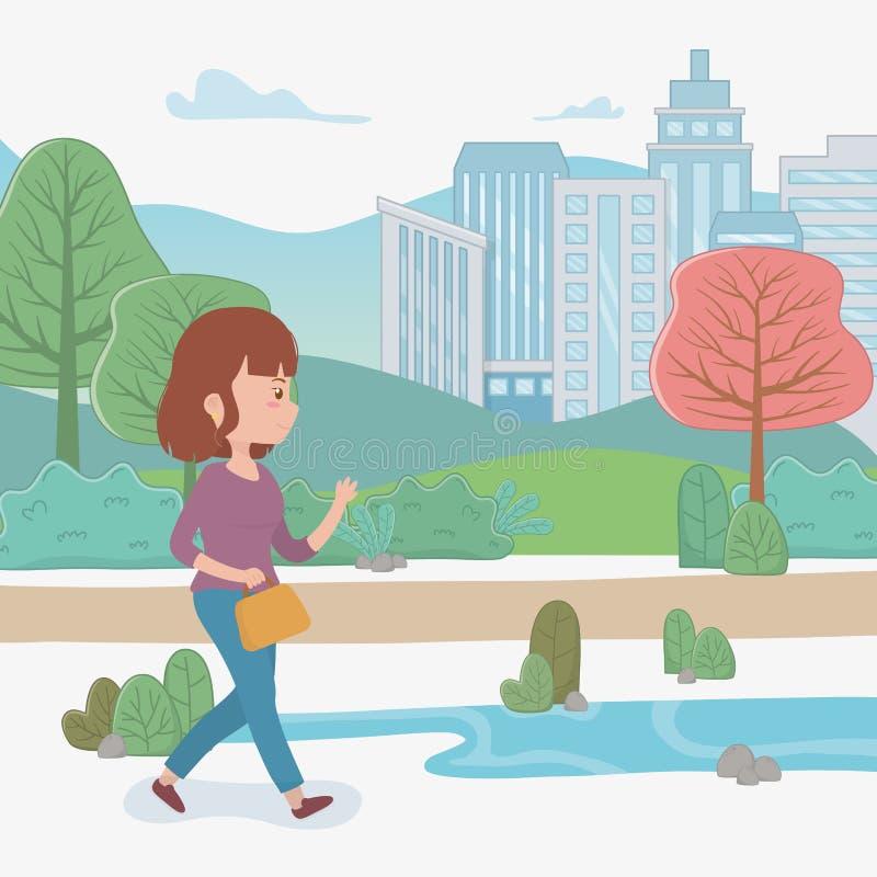 Νέα γυναίκα που περπατά με την τσάντα στο πάρκο διανυσματική απεικόνιση