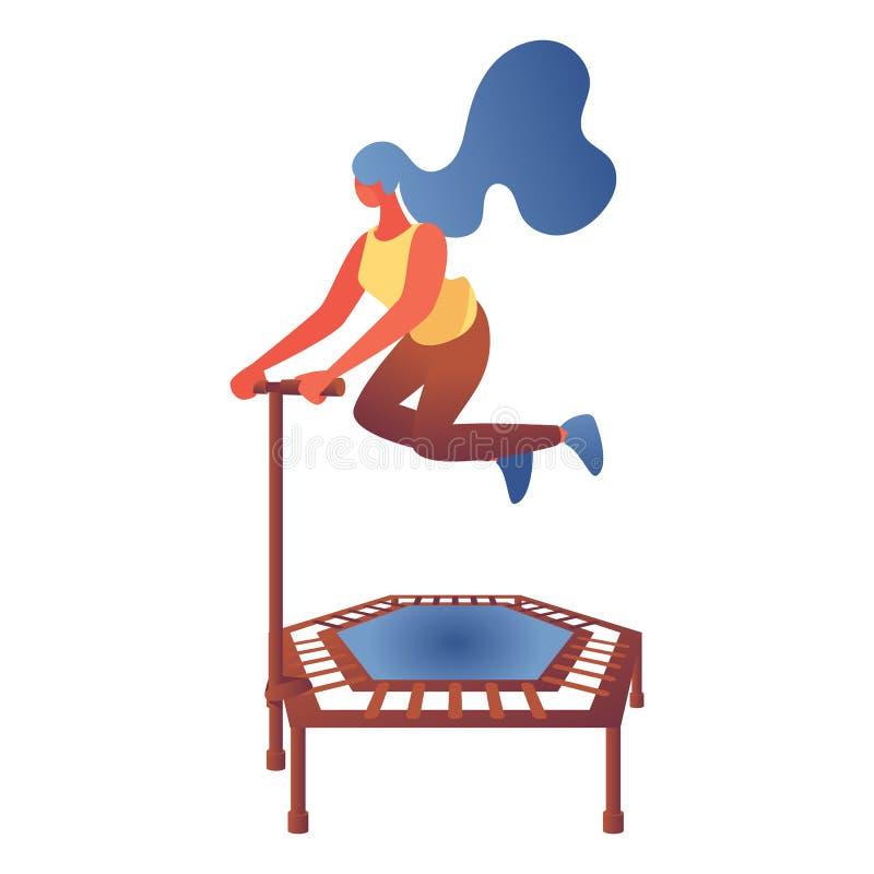 Νέα γυναίκα που πηδά στο τραμπολίνο Επίπεδος χαρακτήρας που σύρεται με τις φωτεινές κλίσεις χρωμάτων στο σύγχρονο ύφος Διανυσματι απεικόνιση αποθεμάτων