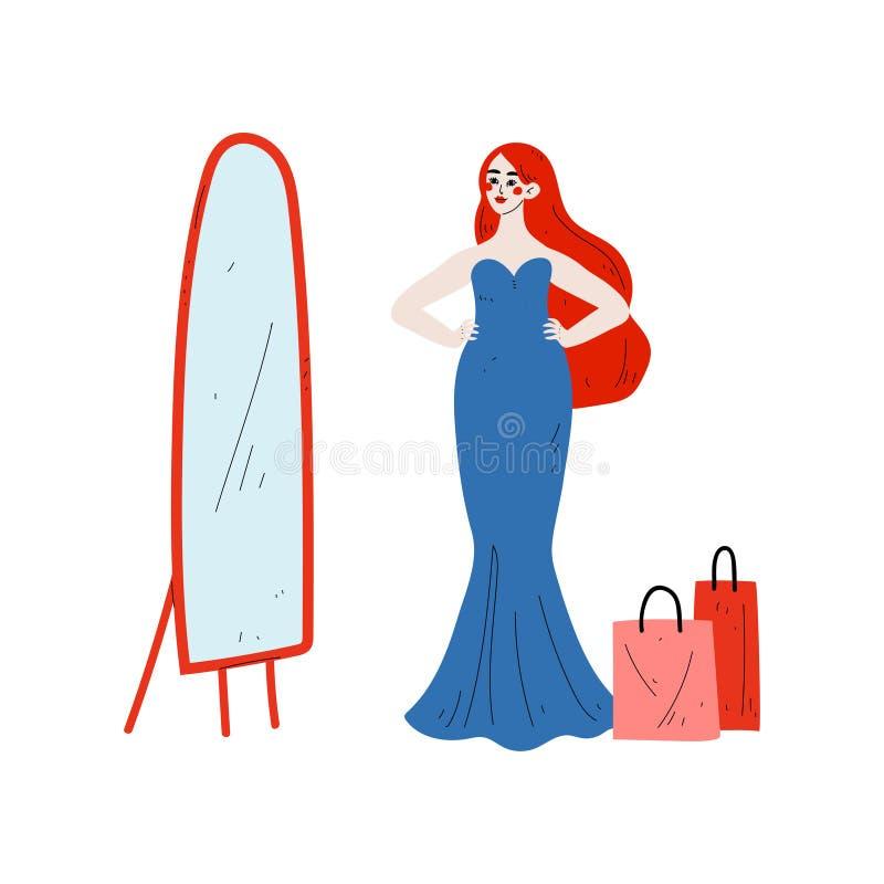 Νέα γυναίκα που προσπαθεί στο κομψό μπλε φόρεμα στο βεστιάριο, όμορφο κορίτσι που ψωνίζει στο διάνυσμα καταστημάτων, λεωφόρων ή κ απεικόνιση αποθεμάτων
