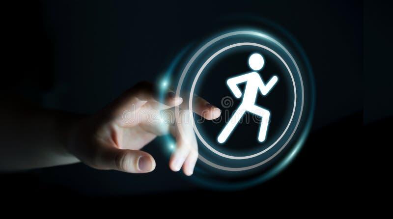 Νέα γυναίκα που χρησιμοποιεί την τρέχοντας εφαρμογή για να ελεγχθούν οι αποδόσεις της διανυσματική απεικόνιση