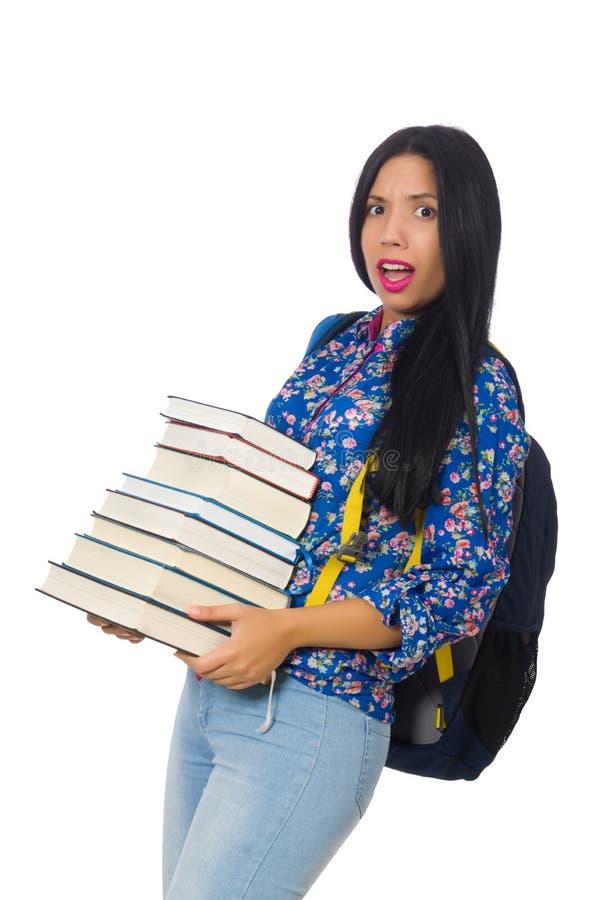 Download Νέα γυναίκα σπουδαστής με τα βιβλία στο λευκό Στοκ Εικόνα - εικόνα από εκμάθηση, αρσενικό: 62710245