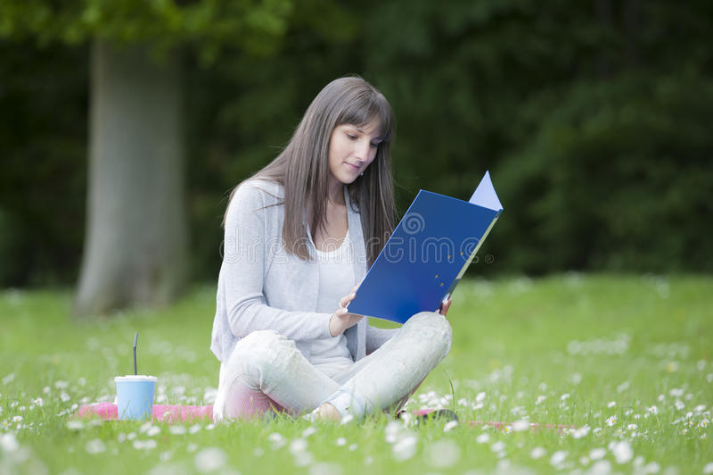 Νέα γυναίκα σπουδαστής στο πάρκο στοκ εικόνα με δικαίωμα ελεύθερης χρήσης