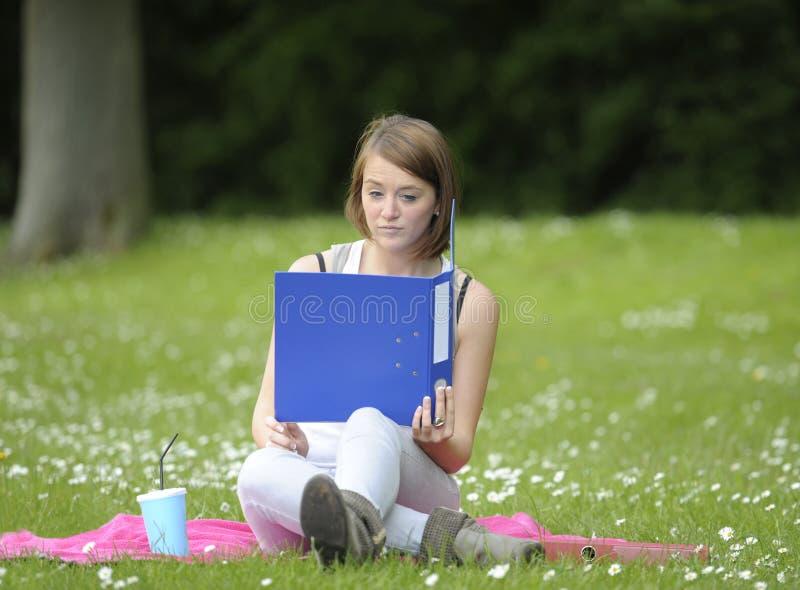 Νέα γυναίκα σπουδαστής στο πάρκο στοκ φωτογραφία με δικαίωμα ελεύθερης χρήσης