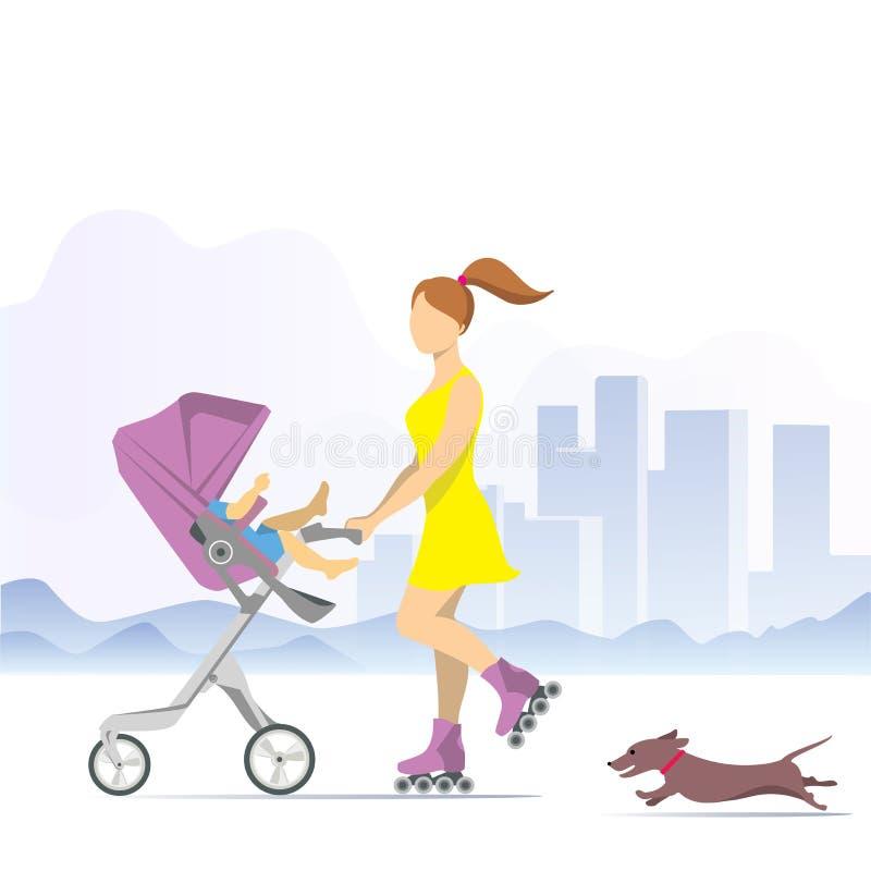 Νέα γυναίκα στα σαλάχια κυλίνδρων με ένα μωρό σε έναν περιπατητή Διανυσματικά κινούμενα σχέδια απεικόνισης clipart διανυσματική απεικόνιση
