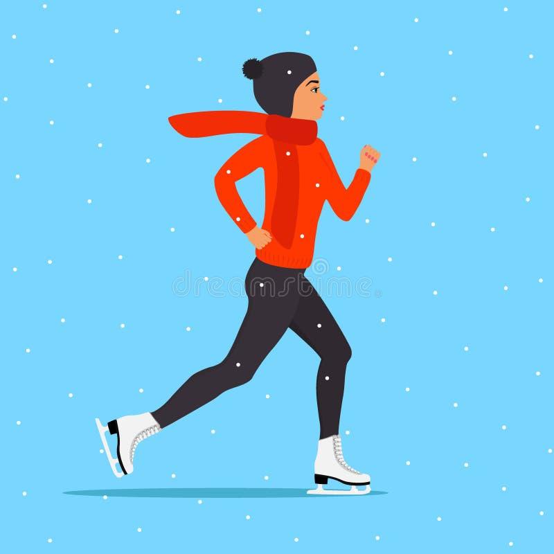 Νέα γυναίκα στην αίθουσα παγοδρομίας πάγου Το κορίτσι στο χειμερινό καπέλο, το πουλόβερ, το μαντίλι, στον αριθμό κάνει πατινάζ Χι διανυσματική απεικόνιση