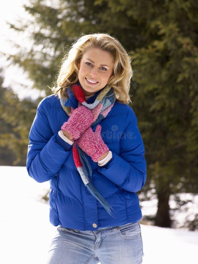 Νέα γυναίκα στην αλπική σκηνή χιονιού στοκ εικόνα με δικαίωμα ελεύθερης χρήσης