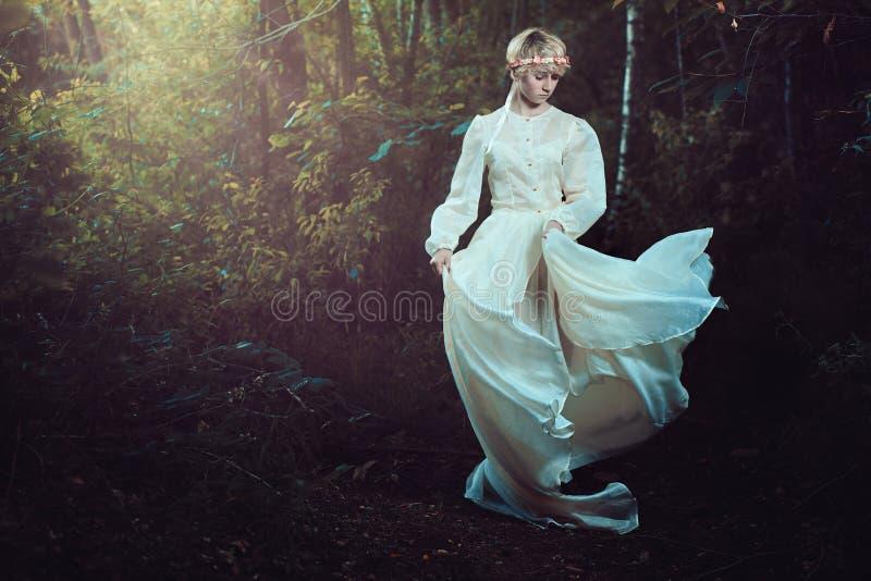 Νέα γυναίκα στο δάσος παραμυθιού στοκ εικόνα με δικαίωμα ελεύθερης χρήσης
