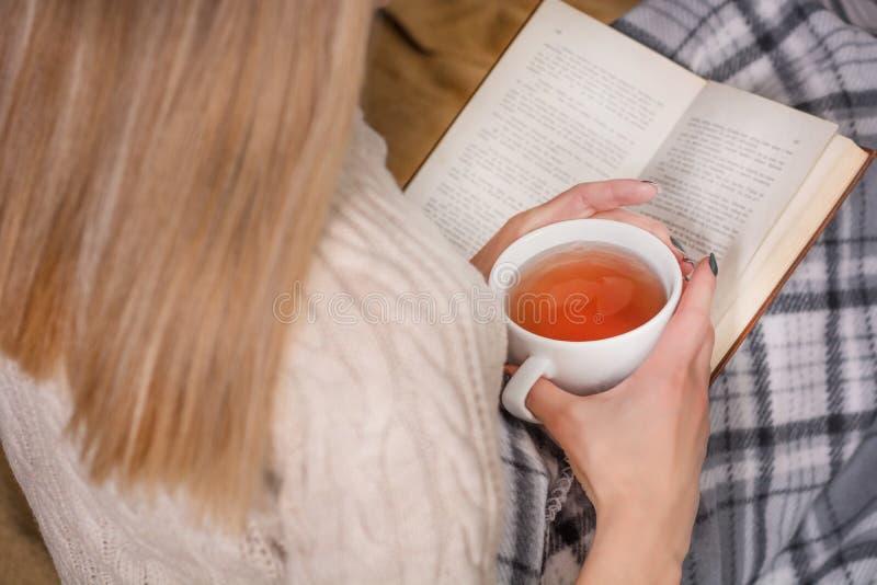 Νέα γυναίκα στο βιβλίο ανάγνωσης κρεβατιών και το φλυτζάνι εκμετάλλευσης του τσαγιού στοκ φωτογραφία με δικαίωμα ελεύθερης χρήσης