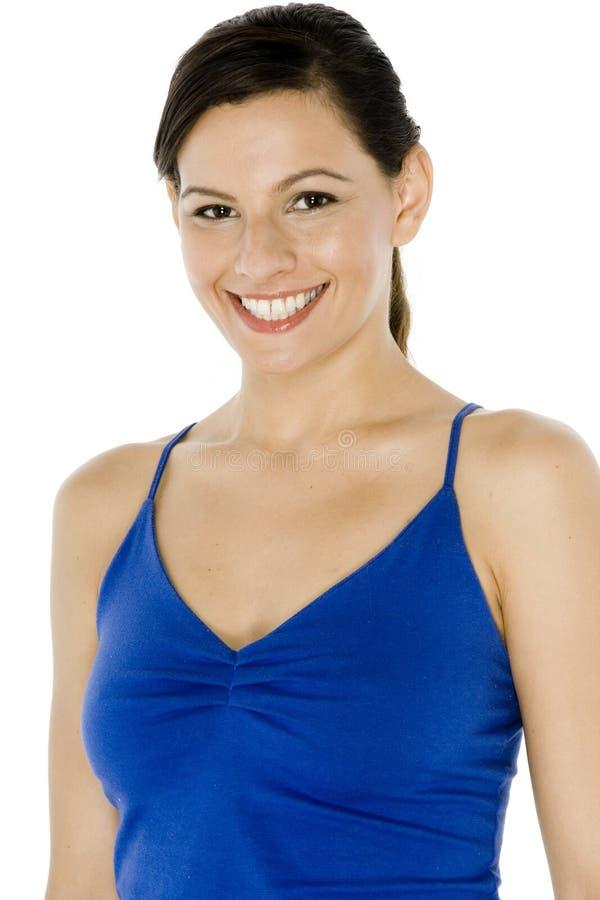Νέα γυναίκα στο μπλε στοκ εικόνες με δικαίωμα ελεύθερης χρήσης
