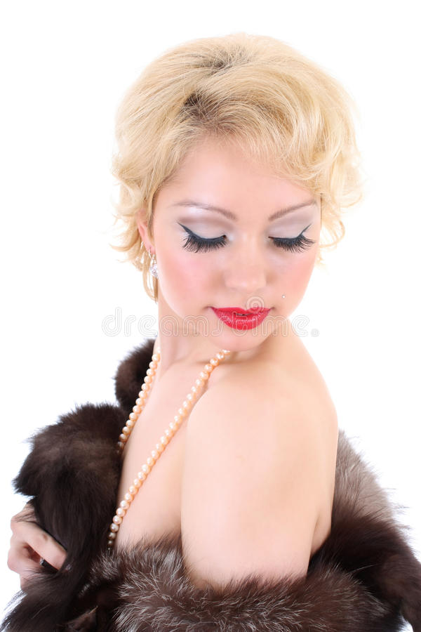 Νέα γυναίκα blondie με τις ιδιαίτερες προσοχές στοκ φωτογραφίες