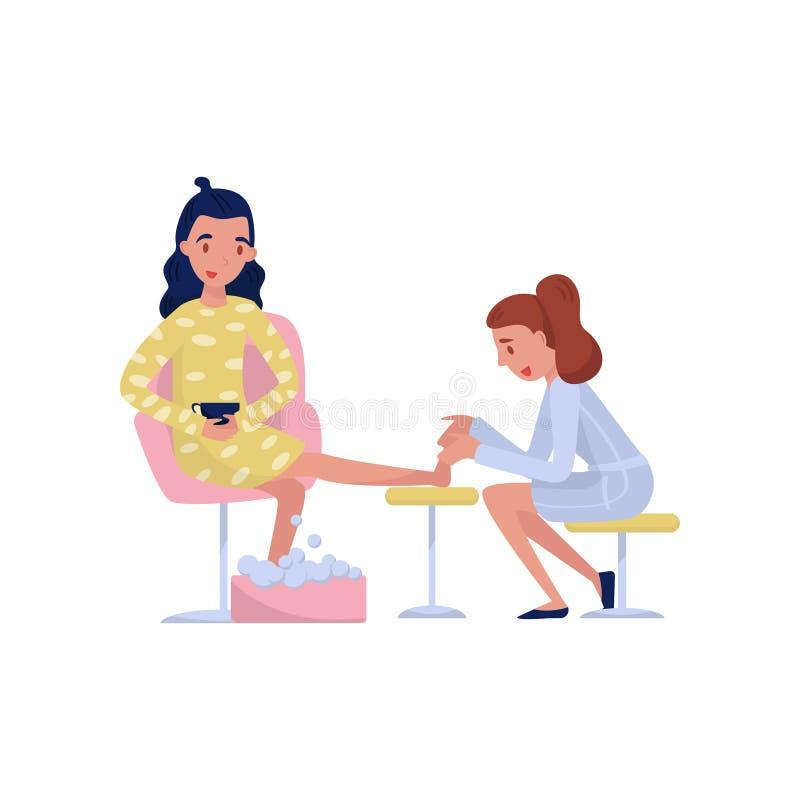 Νέα γυναίκα brunette που απολαμβάνει ένα μασάζ ποδιών στη SPA ή τη διανυσματική απεικόνιση σαλονιών ομορφιάς σε ένα άσπρο υπόβαθρ ελεύθερη απεικόνιση δικαιώματος