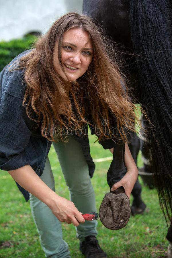 Νέα γυναίκα brunette που καθαρίζει τις οπλές του αλόγου της στοκ εικόνα