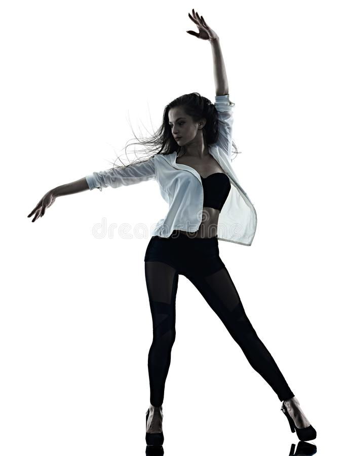 Νέα γυναικών σύγχρονη μπαλέτου σκιά σκιαγραφιών υποβάθρου χορευτών χορεύοντας απομονωμένη άσπρη στοκ φωτογραφίες με δικαίωμα ελεύθερης χρήσης