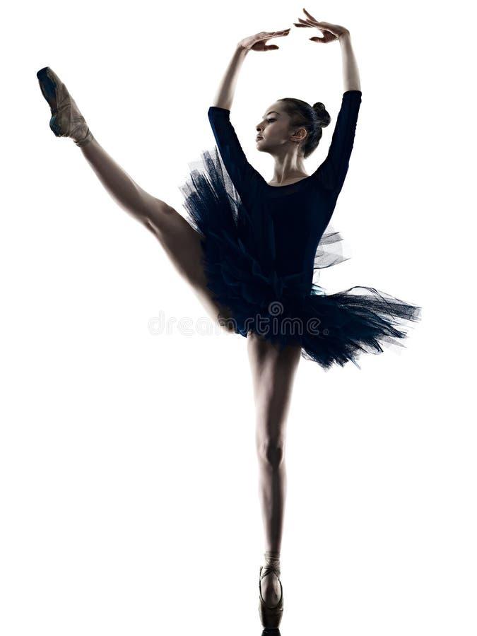 Νέα γυναικών ballerina μπαλέτου σκιαγραφία υποβάθρου χορευτών χορεύοντας απομονωμένη άσπρη στοκ φωτογραφίες με δικαίωμα ελεύθερης χρήσης