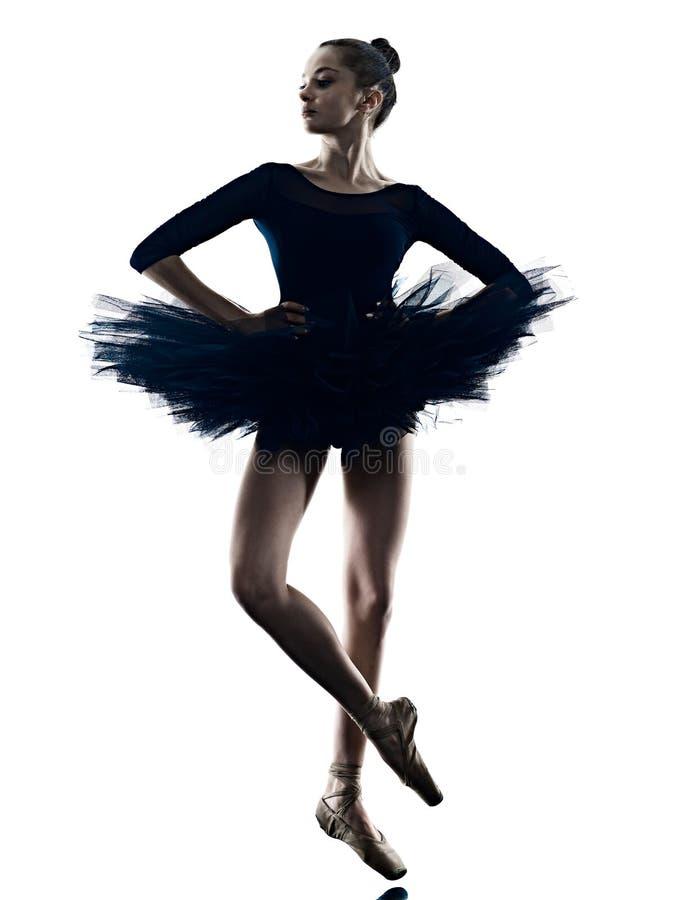Νέα γυναικών ballerina μπαλέτου σκιαγραφία υποβάθρου χορευτών χορεύοντας απομονωμένη άσπρη στοκ εικόνες